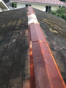 塗装前の棟包み板金